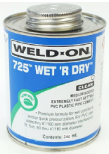 Weld-On 725 Wet R Dry Solvent Cement - 240ml for Swimming Pool Pipework